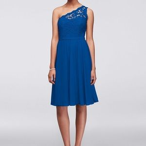 David's bridal horizon blue bridesmaid dress